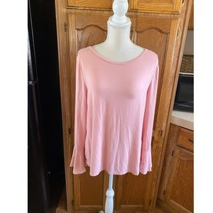WHBM Pink Bell Sleeve Top Size